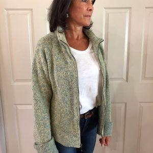 Zip Front Woolen Knit Jacket